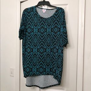 LuLaRoe Black & Blue Irma Top S